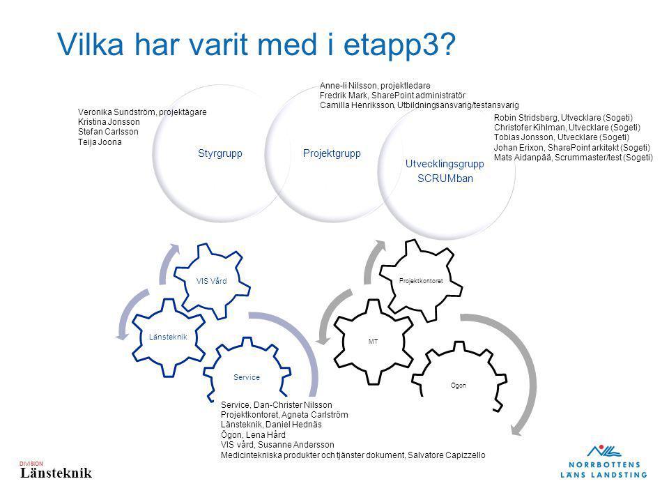 DIVISION Länsteknik Vilka har varit med i etapp3? Service Länsteknik VIS Vård Ögon MT Projektkontoret StyrgruppProjektgrupp Utvecklingsgrupp SCRUMban