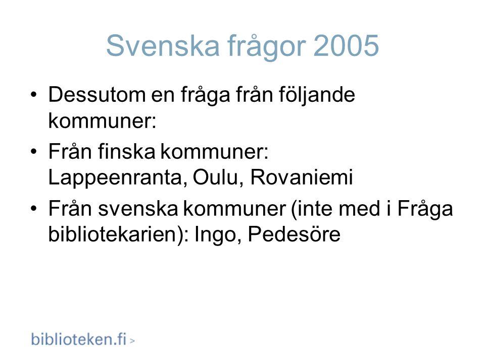 Svenska frågor 2005 Dessutom en fråga från följande kommuner: Från finska kommuner: Lappeenranta, Oulu, Rovaniemi Från svenska kommuner (inte med i Fr