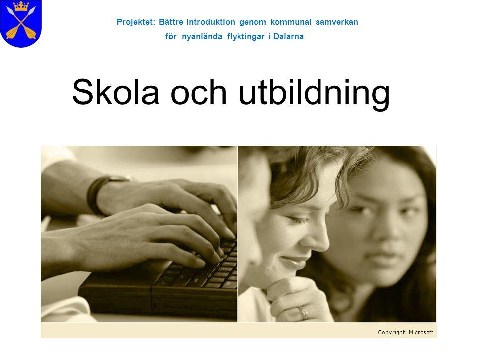 Projektet: Bättre introduktion genom kommunal samverkan för nyanlända flyktingar i Dalarna Skola och utbildning Copyright: Microsoft