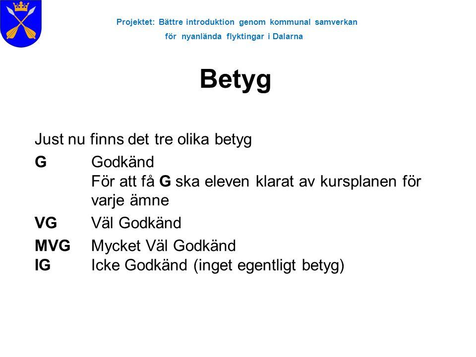Projektet: Bättre introduktion genom kommunal samverkan för nyanlända flyktingar i Dalarna Just nu finns det tre olika betyg G Godkänd För att få G sk