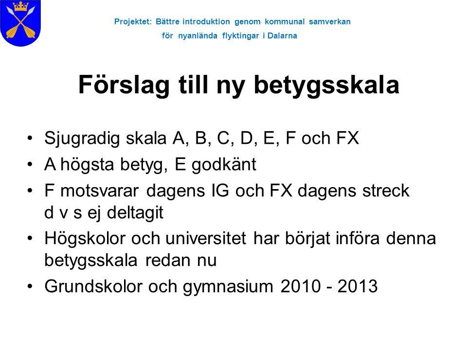 Projektet: Bättre introduktion genom kommunal samverkan för nyanlända flyktingar i Dalarna Förslag till ny betygsskala Sjugradig skala A, B, C, D, E,