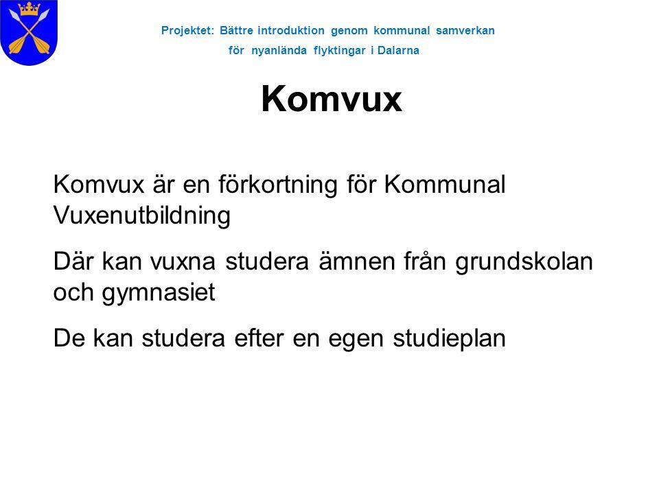 Projektet: Bättre introduktion genom kommunal samverkan för nyanlända flyktingar i Dalarna Komvux Komvux är en förkortning för Kommunal Vuxenutbildnin
