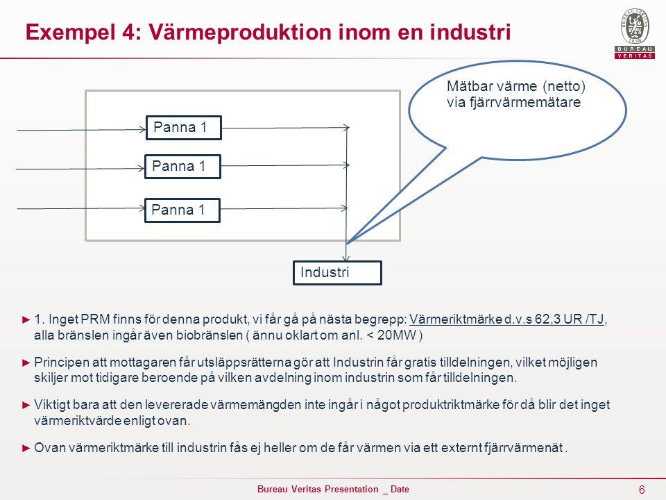 6 Bureau Veritas Presentation _ Date Exempel 4: Värmeproduktion inom en industri ► 1.