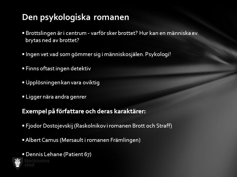 Den psykologiska romanen Brottslingen är i centrum - varför sker brottet? Hur kan en människa ev. brytas ned av brottet? Ingen vet vad som gömmer sig