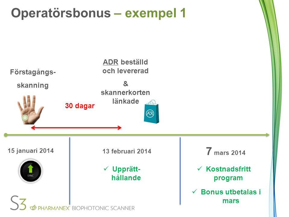 Förstagångs- skanning 30 dagar ADR beställd och levererad & skannerkorten länkade 15 januari 2014 13 februari 2014 Upprätt- hållande Kostnadsfritt pro
