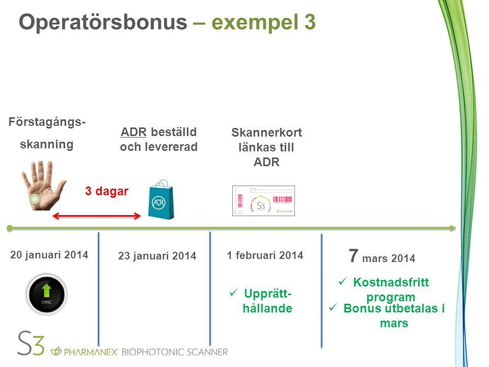 Förstagångs- skanning 3 dagar ADR beställd och levererad 20 januari 2014 23 januari 2014 Upprätt- hållande Kostnadsfritt program Bonus utbetalas i mar