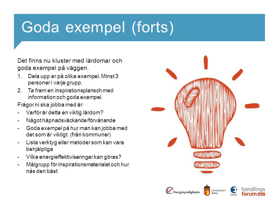 Goda exempel (forts) Det finns nu kluster med lärdomar och goda exempel på väggen. 1.Dela upp er på olika exempel. Minst 3 personer i varje grupp. 2.T