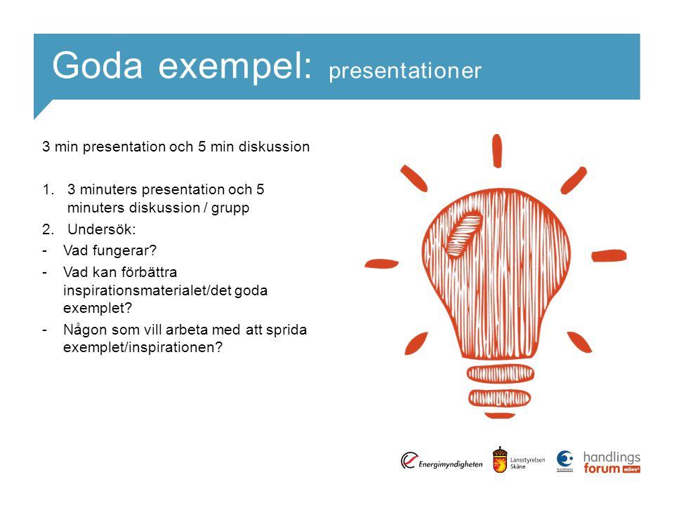 Goda exempel: presentationer 3 min presentation och 5 min diskussion 1.3 minuters presentation och 5 minuters diskussion / grupp 2.Undersök: -Vad fungerar.