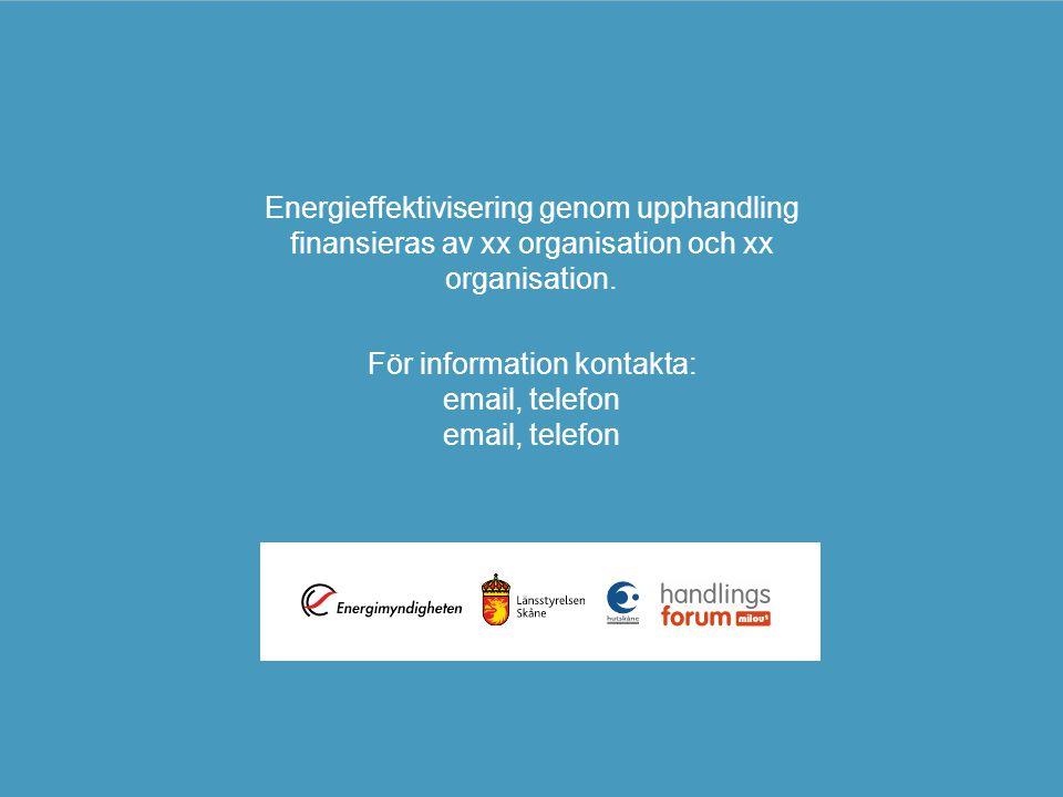 Energieffektivisering genom upphandling finansieras av xx organisation och xx organisation. För information kontakta: email, telefon email, telefon