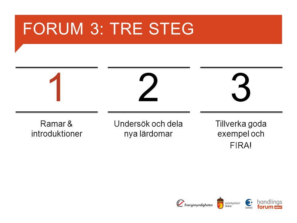 FORUM 3: TRE STEG Ramar & introduktioner Undersök och dela nya lärdomar Tillverka goda exempel och FIRA.