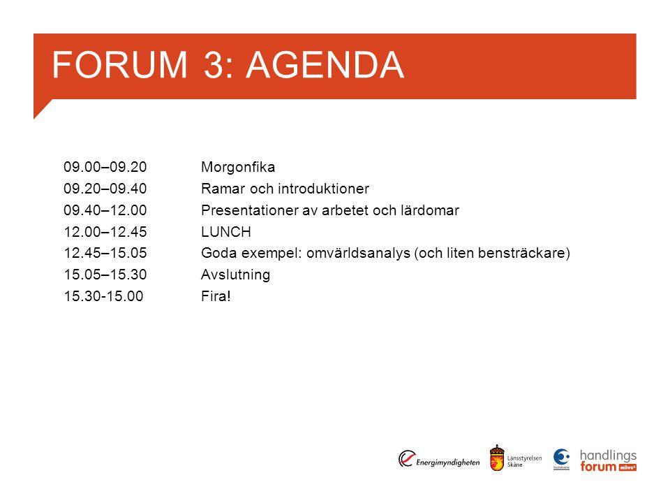 FORUM 3: AGENDA 09.00–09.20 09.20–09.40 09.40–12.00 12.00–12.45 12.45–15.05 15.05–15.30 15.30-15.00 Morgonfika Ramar och introduktioner Presentationer av arbetet och lärdomar LUNCH Goda exempel: omvärldsanalys (och liten bensträckare) Avslutning Fira!