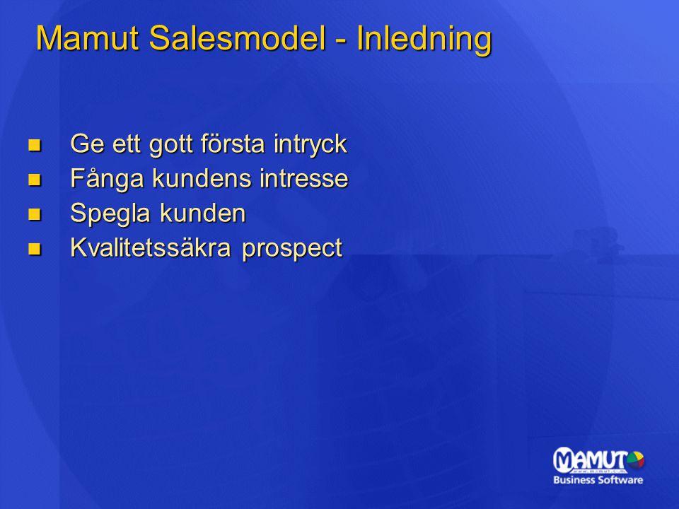 Mamut Salesmodel - Inledning Ge ett gott första intryck Ge ett gott första intryck Fånga kundens intresse Fånga kundens intresse Spegla kunden Spegla