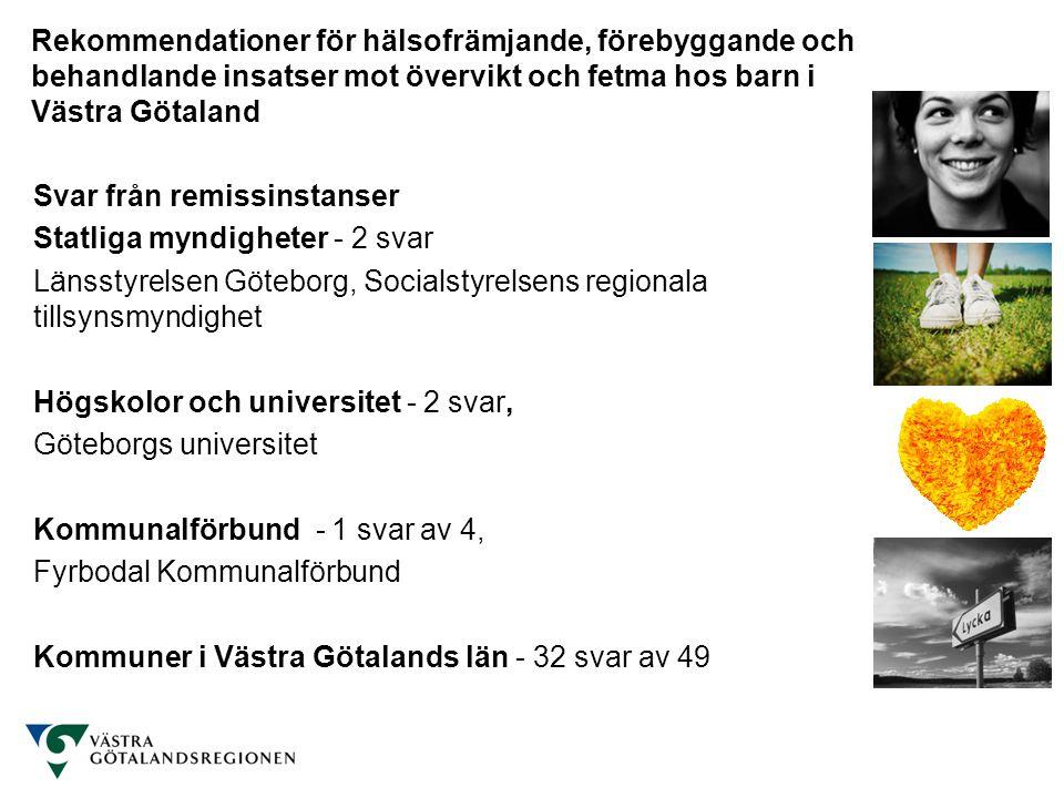 Svar från remissinstanser Statliga myndigheter - 2 svar Länsstyrelsen Göteborg, Socialstyrelsens regionala tillsynsmyndighet Högskolor och universitet