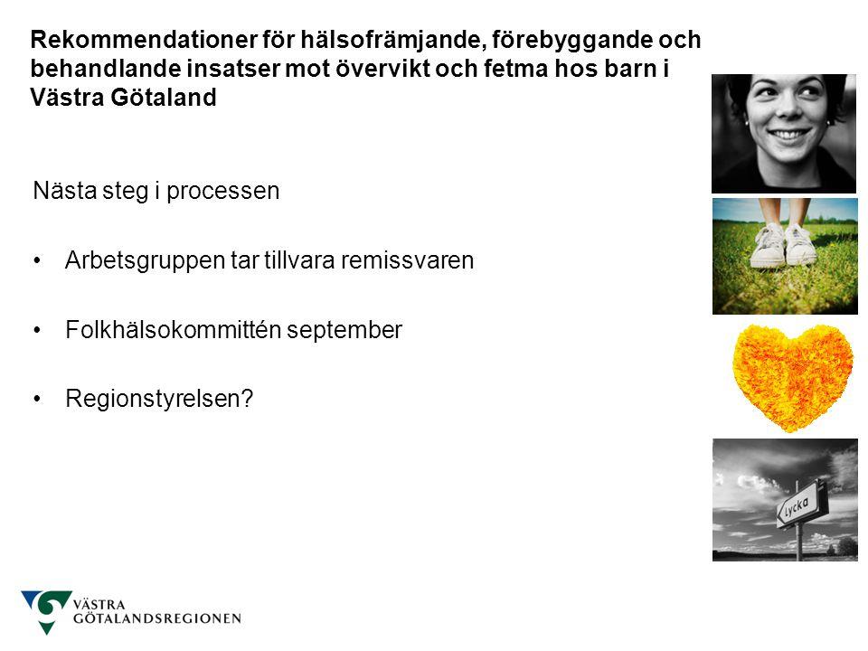 Rekommendationer för hälsofrämjande, förebyggande och behandlande insatser mot övervikt och fetma hos barn i Västra Götaland Nästa steg i processen Arbetsgruppen tar tillvara remissvaren Folkhälsokommittén september Regionstyrelsen?