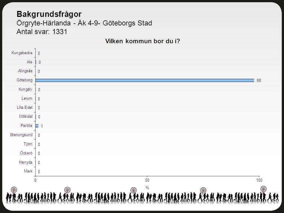 Trivsel och trygghet Örgryte-Härlanda - Åk 4-9- Göteborgs Stad Antal svar: 1330