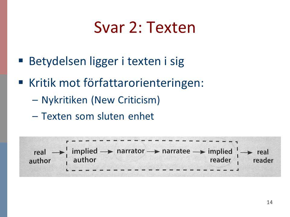 14 Svar 2: Texten  Betydelsen ligger i texten i sig  Kritik mot författarorienteringen: –Nykritiken (New Criticism) –Texten som sluten enhet
