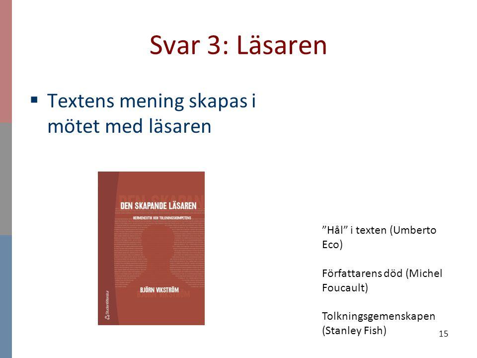 """15 Svar 3: Läsaren  Textens mening skapas i mötet med läsaren """"Hål"""" i texten (Umberto Eco) Författarens död (Michel Foucault) Tolkningsgemenskapen (S"""