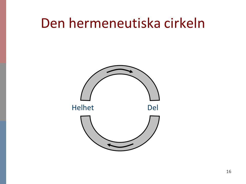16 Den hermeneutiska cirkeln Helhet Del