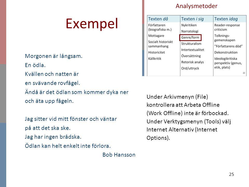 25 Exempel Under Arkivmenyn (File) kontrollera att Arbeta Offline (Work Offline) inte är förbockad. Under Verktygsmenyn (Tools) välj Internet Alternat
