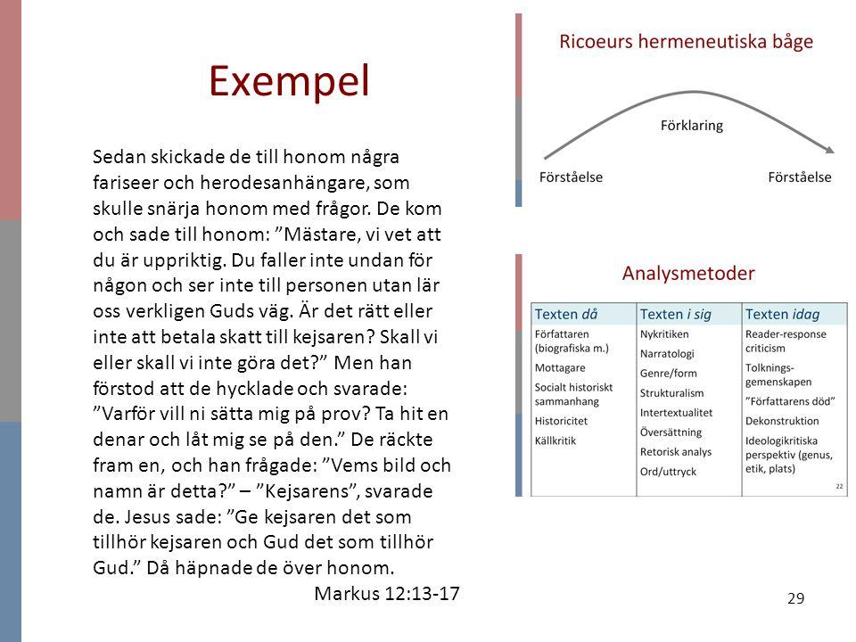 """29 Exempel Sedan skickade de till honom några fariseer och herodesanhängare, som skulle snärja honom med frågor. De kom och sade till honom: """"Mästare,"""
