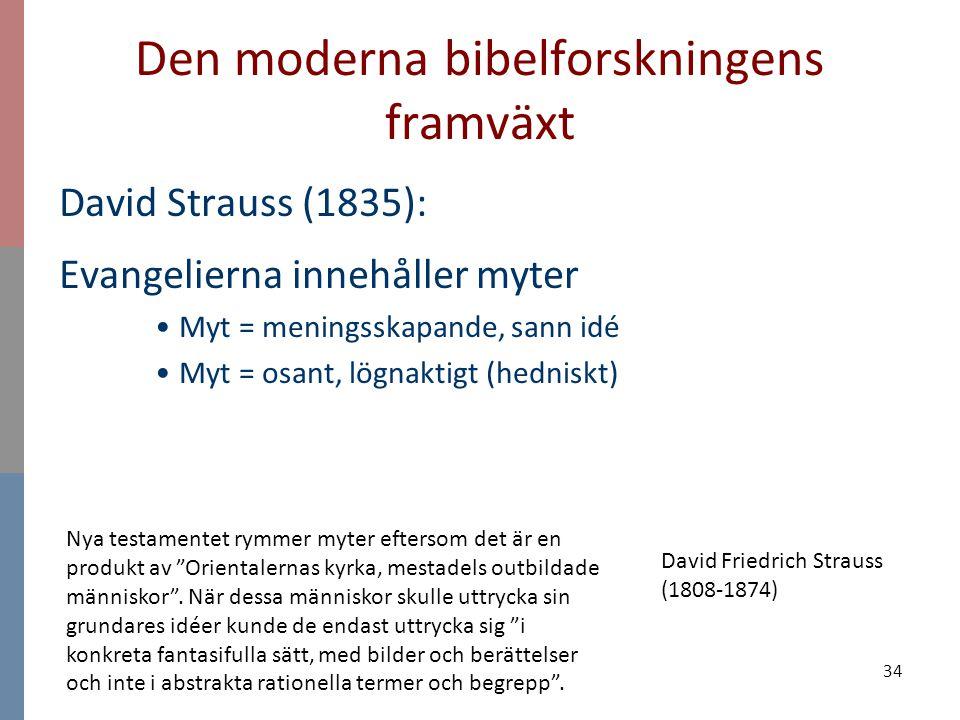 34 Den moderna bibelforskningens framväxt David Strauss (1835): Evangelierna innehåller myter Myt = meningsskapande, sann idé Myt = osant, lögnaktigt
