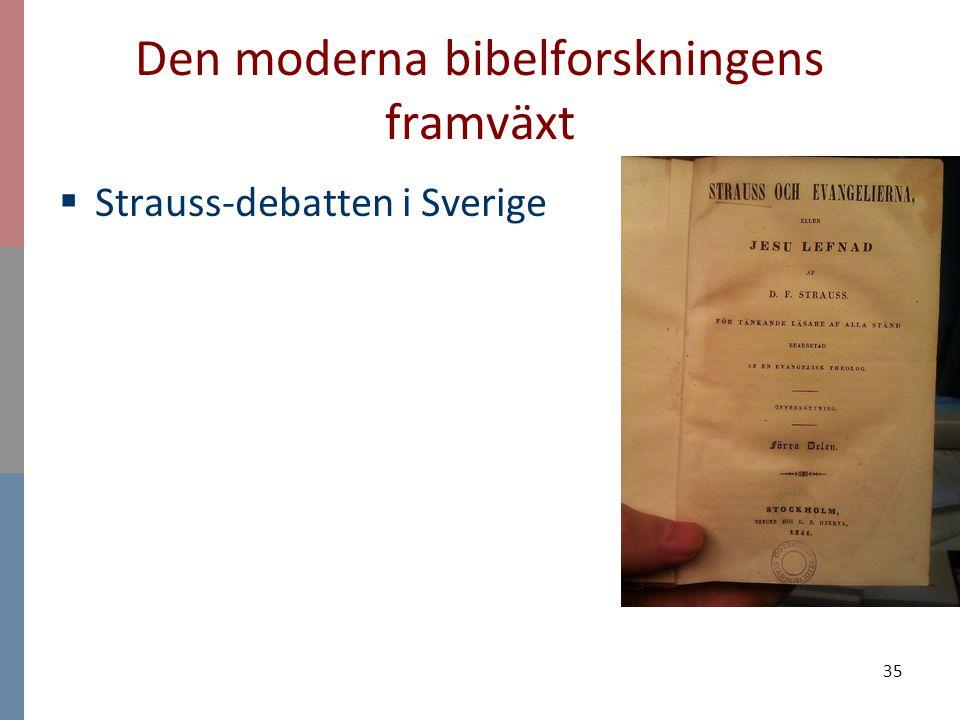 35 Den moderna bibelforskningens framväxt  Strauss-debatten i Sverige