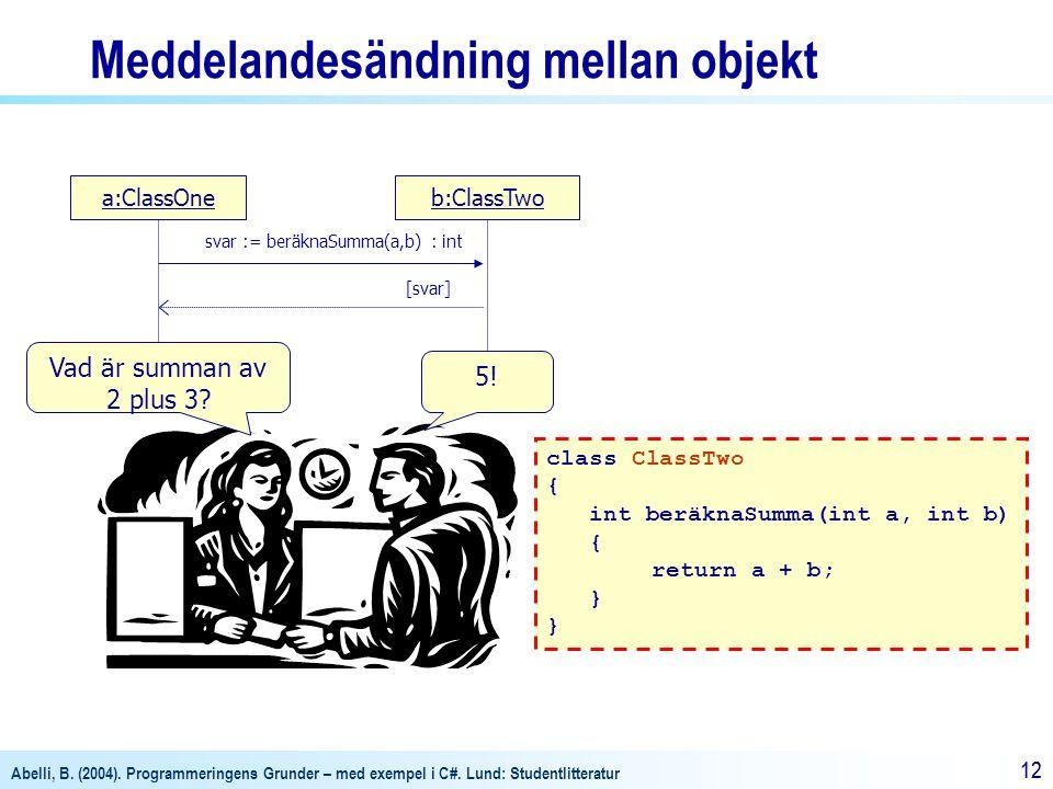 Abelli, B. (2004). Programmeringens Grunder – med exempel i C#. Lund: Studentlitteratur 12 a:ClassOneb:ClassTwo svar := beräknaSumma(a,b) : int [svar]