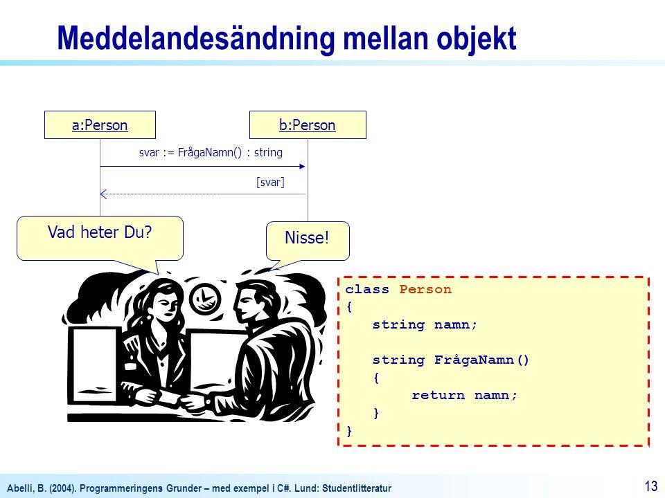 Abelli, B. (2004). Programmeringens Grunder – med exempel i C#. Lund: Studentlitteratur 13 a:Personb:Person svar := FrågaNamn() : string [svar] Vad he