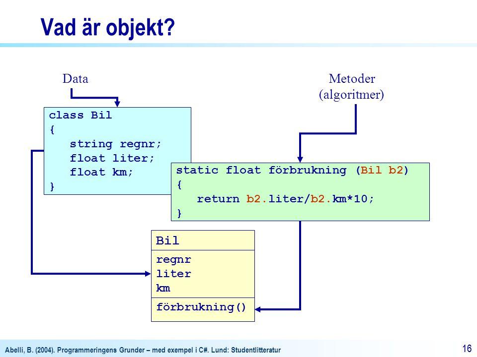 Abelli, B. (2004). Programmeringens Grunder – med exempel i C#. Lund: Studentlitteratur 16 Vad är objekt? Bil Metoder (algoritmer) class Bil { string