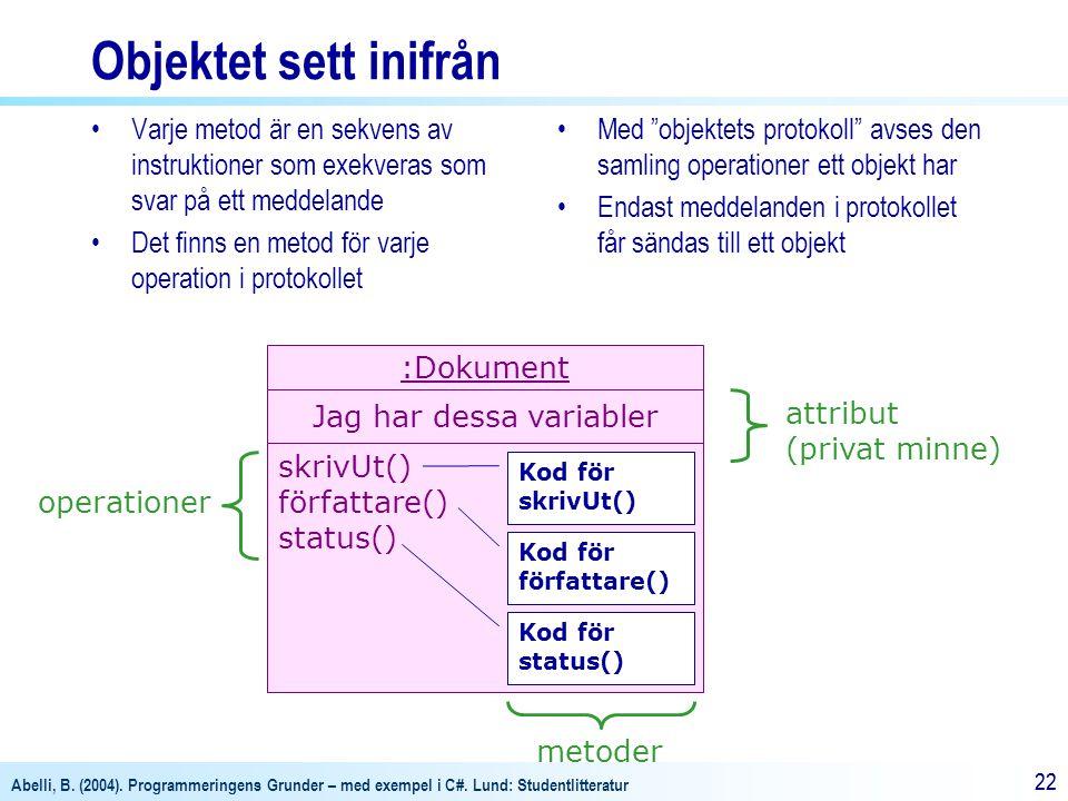 Abelli, B. (2004). Programmeringens Grunder – med exempel i C#. Lund: Studentlitteratur 22 Objektet sett inifrån Varje metod är en sekvens av instrukt