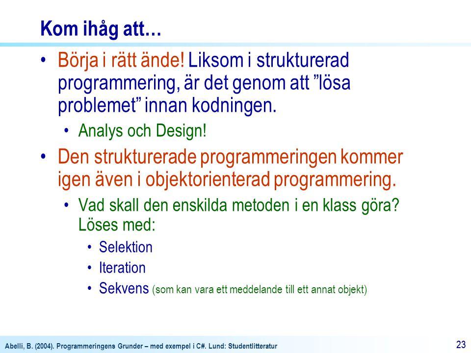 Abelli, B. (2004). Programmeringens Grunder – med exempel i C#. Lund: Studentlitteratur 23 Kom ihåg att… Börja i rätt ände! Liksom i strukturerad prog