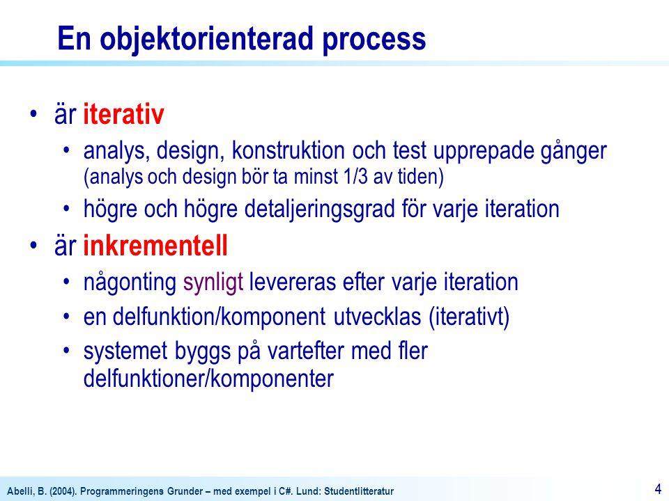 Abelli, B. (2004). Programmeringens Grunder – med exempel i C#. Lund: Studentlitteratur 44 En objektorienterad process är iterativ analys, design, kon