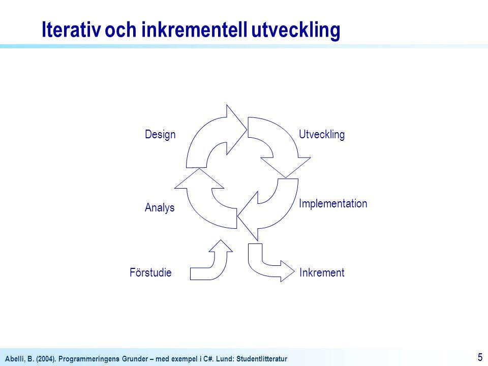 Abelli, B. (2004). Programmeringens Grunder – med exempel i C#. Lund: Studentlitteratur 55 Förstudie Analys DesignUtveckling Implementation Inkrement