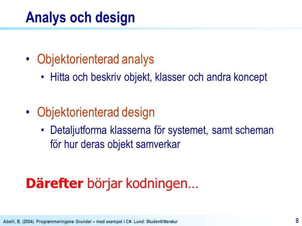 Abelli, B. (2004). Programmeringens Grunder – med exempel i C#. Lund: Studentlitteratur 88 Analys och design Objektorienterad analys Hitta och beskriv