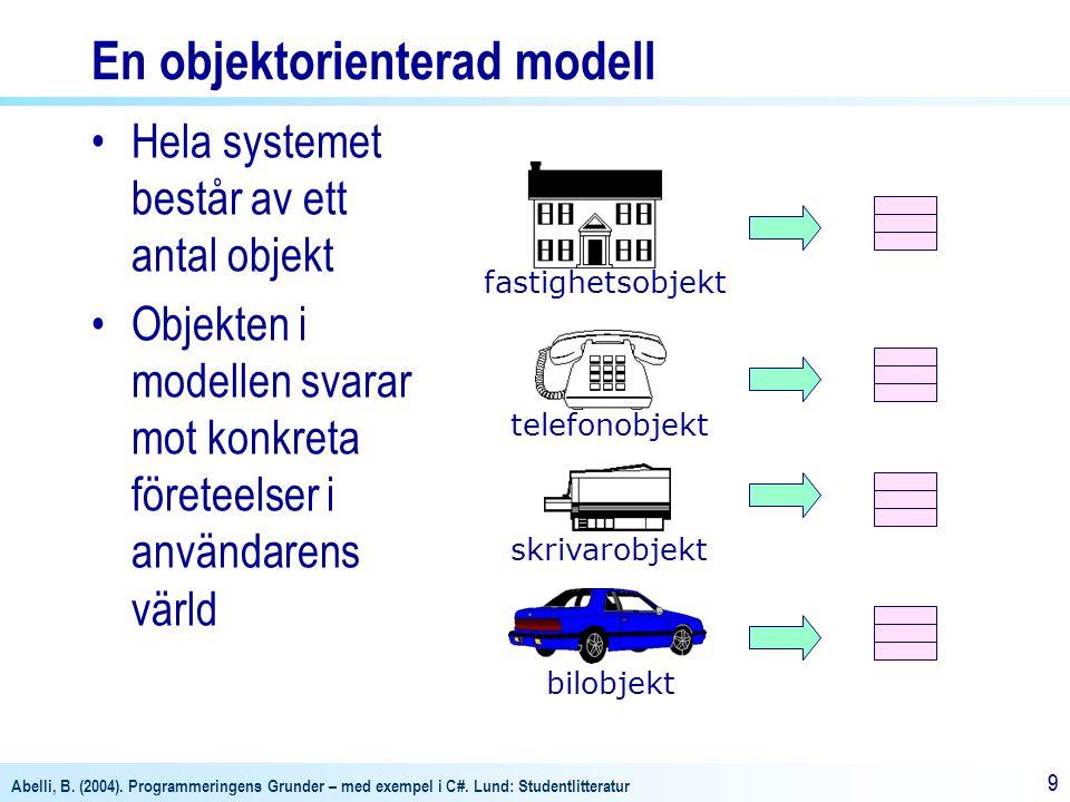 Abelli, B. (2004). Programmeringens Grunder – med exempel i C#. Lund: Studentlitteratur 99 En objektorienterad modell Hela systemet består av ett anta