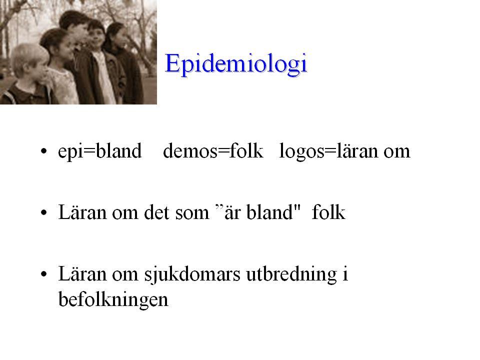 Epidemiologi är: studier av fördelning (I) och orsaker (II) till hälsotillstånd eller händelser i specifika populationer och användandet av dessa studier för att kontrollera hälsoproblem (III)