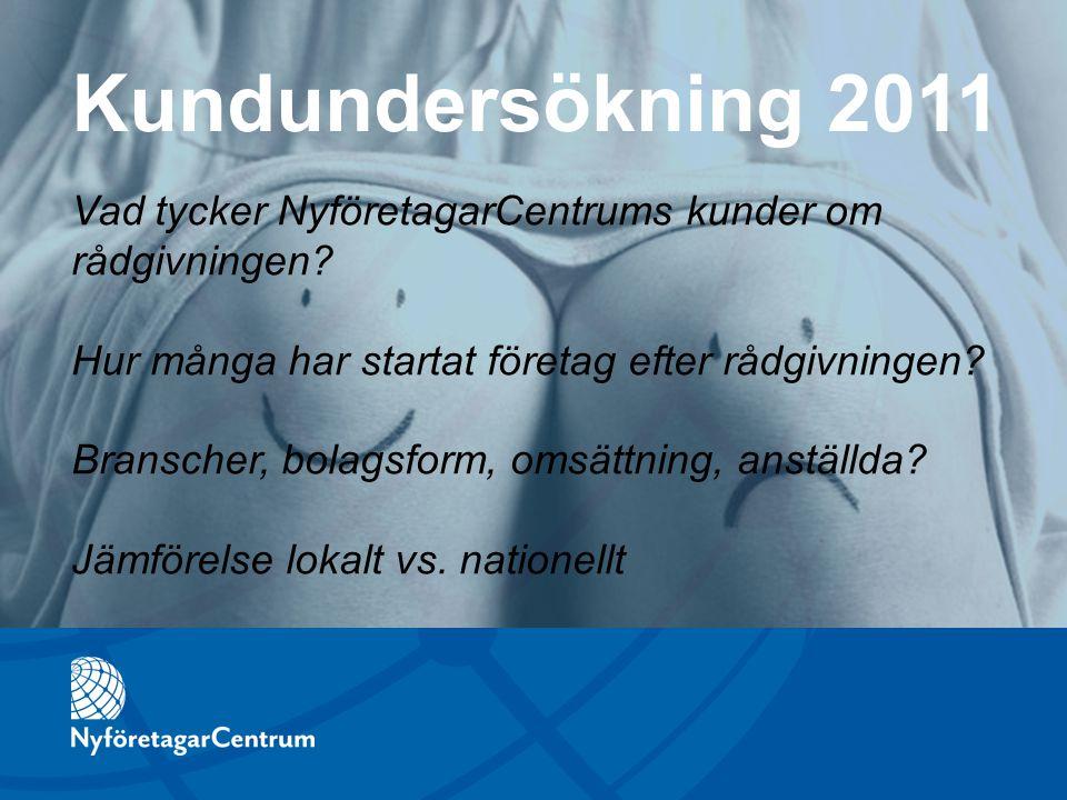 Vad tycker NyföretagarCentrums kunder om rådgivningen? Hur många har startat företag efter rådgivningen? Branscher, bolagsform, omsättning, anställda?