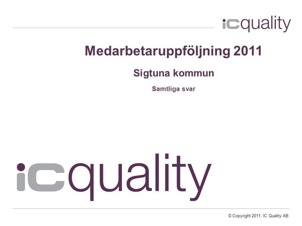 © Copyright 2011, IC Quality AB Medarbetaruppföljning 2011 Sigtuna kommun Samtliga svar