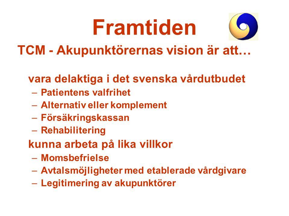 Framtiden TCM - Akupunktörernas vision är att… vara delaktiga i det svenska vårdutbudet –Patientens valfrihet –Alternativ eller komplement –Försäkring
