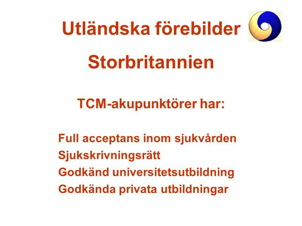 Utländska förebilder Storbritannien TCM-akupunktörer har: Full acceptans inom sjukvården Sjukskrivningsrätt Godkänd universitetsutbildning Godkända pr