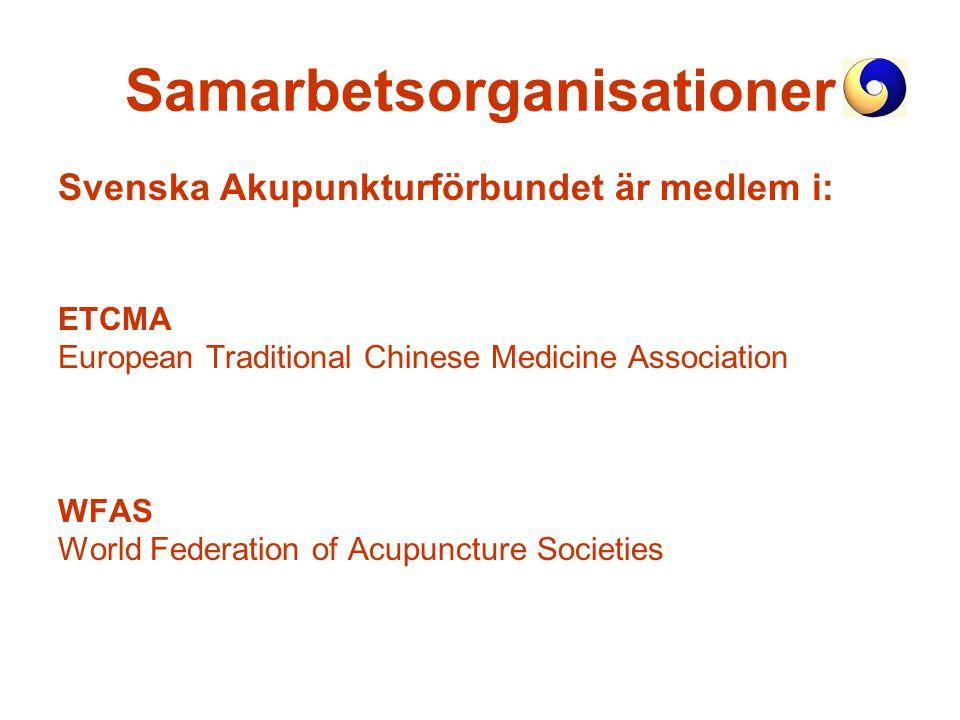 Samarbetsorganisationer Svenska Akupunkturförbundet är medlem i: ETCMA European Traditional Chinese Medicine Association WFAS World Federation of Acup