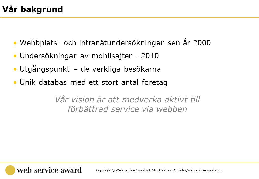 Copyright © Web Service Award AB, Stockholm 2015, info@webserviceaward.com Undersökningsmetod Lager pop-up Undersökningsperiod 3 november – 26 november 2014 Antal svarande 461 respondenter Metod och genomförande