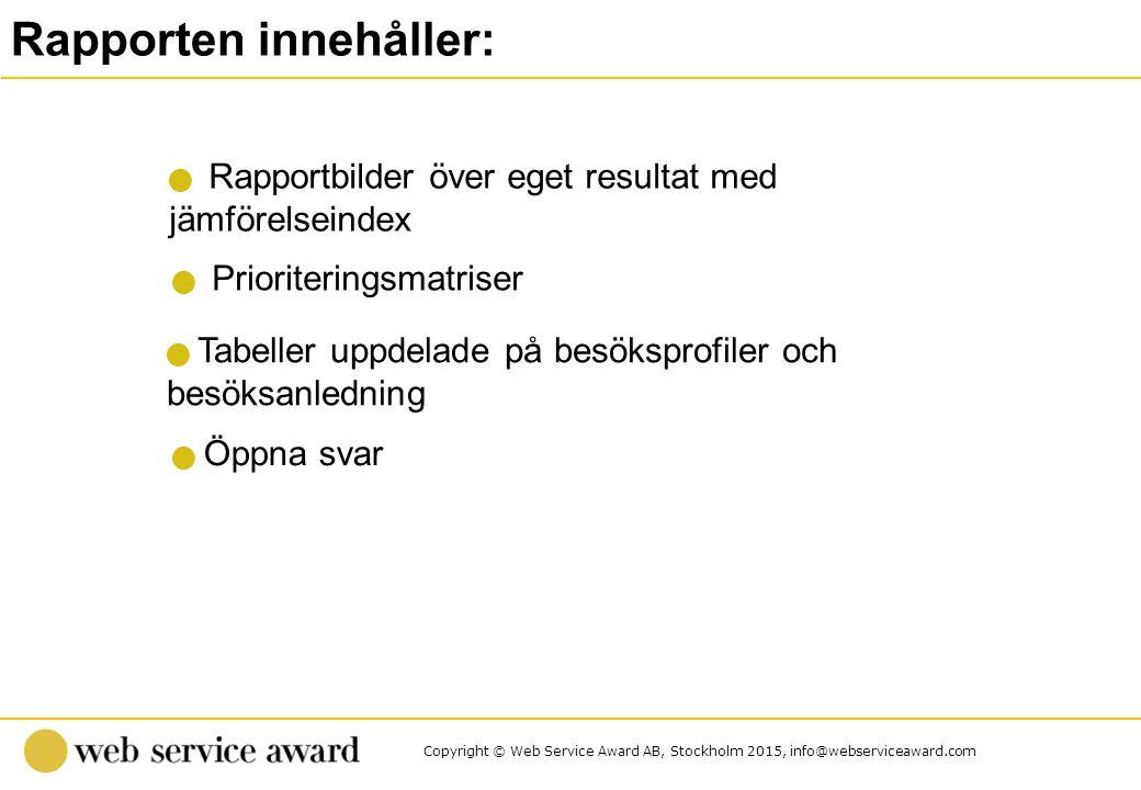 Copyright © Web Service Award AB, Stockholm 2015, info@webserviceaward.com Rapporten innehåller: Rapportbilder över eget resultat med jämförelseindex Öppna svar Tabeller uppdelade på besöksprofiler och besöksanledning Prioriteringsmatriser