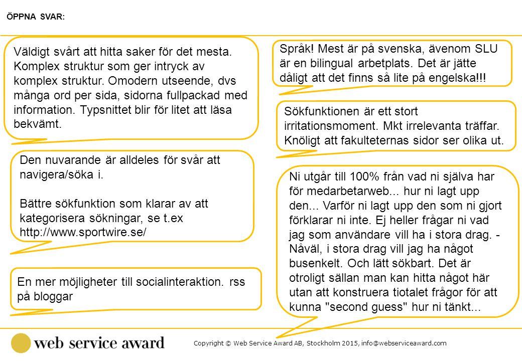 Copyright © Web Service Award AB, Stockholm 2015, info@webserviceaward.com Språk! Mest är på svenska, ävenom SLU är en bilingual arbetplats. Det är jä