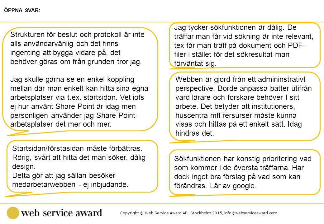 Copyright © Web Service Award AB, Stockholm 2015, info@webserviceaward.com Jag tycker sökfunktionen är dålig. De träffar man får vid sökning är inte r