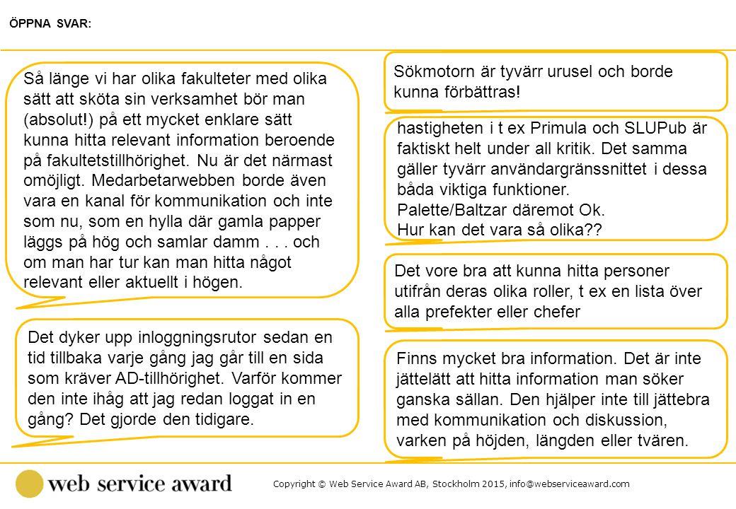 Copyright © Web Service Award AB, Stockholm 2015, info@webserviceaward.com Sökmotorn är tyvärr urusel och borde kunna förbättras! ÖPPNA SVAR: Så länge