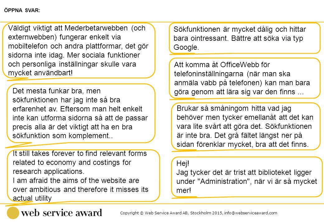 Copyright © Web Service Award AB, Stockholm 2015, info@webserviceaward.com Sökfunktionen är mycket dålig och hittar bara ointressant. Bättre att söka