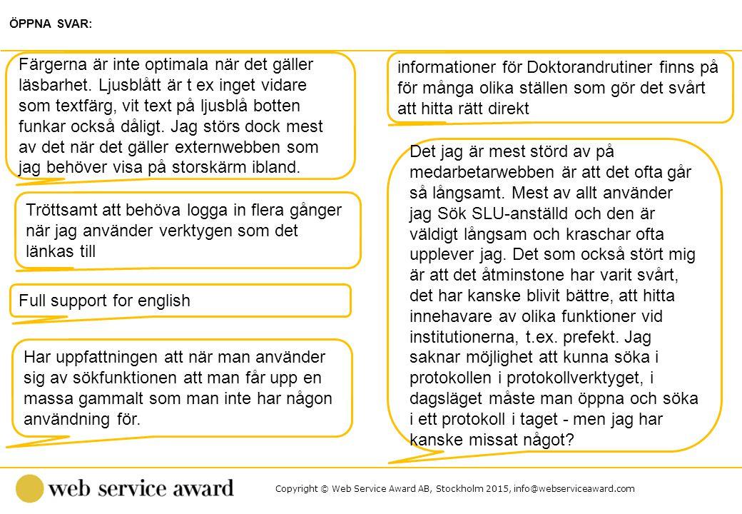 Copyright © Web Service Award AB, Stockholm 2015, info@webserviceaward.com informationer för Doktorandrutiner finns på för många olika ställen som gör det svårt att hitta rätt direkt ÖPPNA SVAR: Färgerna är inte optimala när det gäller läsbarhet.