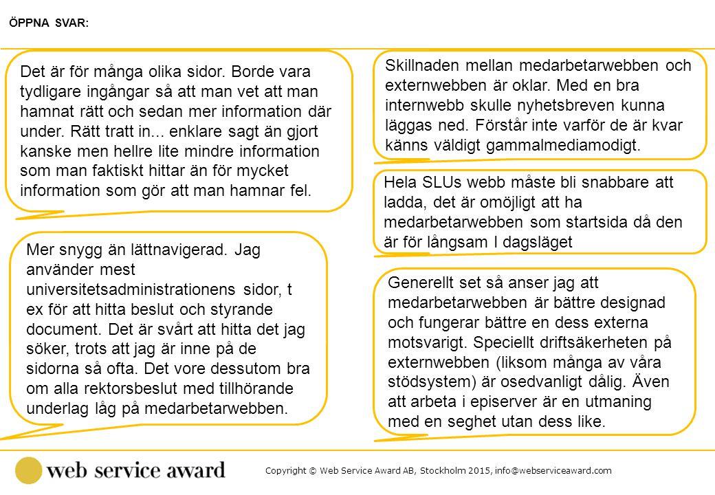 Copyright © Web Service Award AB, Stockholm 2015, info@webserviceaward.com Skillnaden mellan medarbetarwebben och externwebben är oklar. Med en bra in