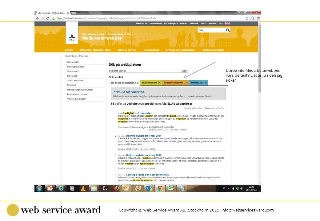 Copyright © Web Service Award AB, Stockholm 2015, info@webserviceaward.com Borde inte Medarbetarwebben vara default? Det är ju i den jag söker